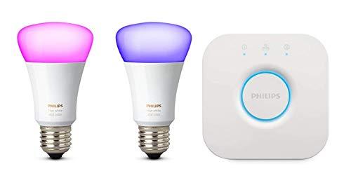 Philips Hue White und Color Ambiance E27 LED Lampe Starter Set, zwei Lampen 4. Generation, dimmbar, steuerbar via App, kompatibel...
