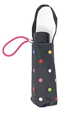 """Totes Micro Mini Manual Compact Umbrella, NeverWet technology, Colorful dots on black, 38"""" arc Coverage"""