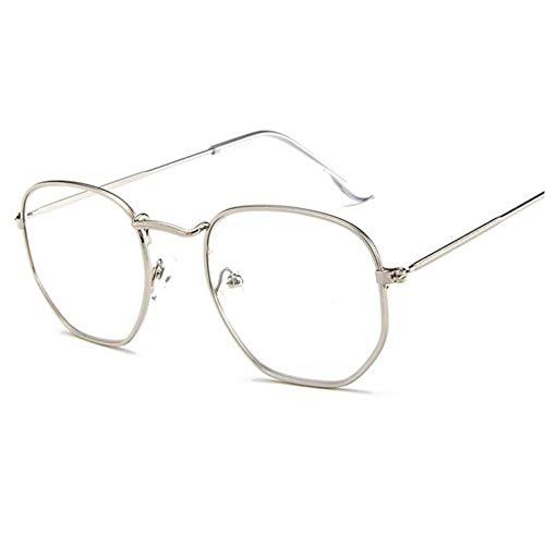 ZZOW Gafas De Sol Poligonales De Metal Cuadradas Retro para Mujer, Gafas Uv400 A La Moda, Gafas Transparentes Coloridas para Hombre, Gafas De Sol