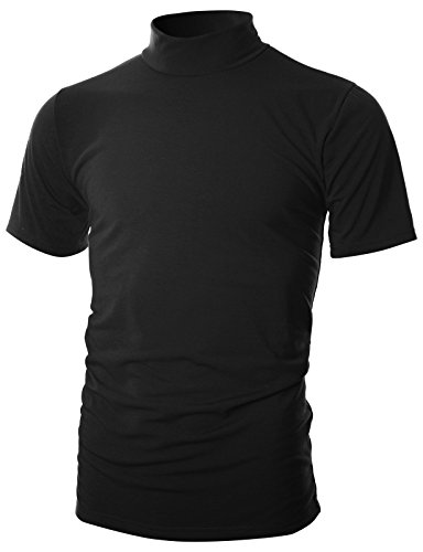 OHOO Mens Slim Fit Soft Cotton Short Sleeve Pullover Lightweight Mockneck with Warm Inside/DCT101-BLACK-M