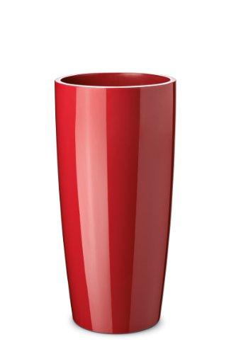 Floralo Teramo hoch Übertopf 25cm Durchmesser x 52cm hoch rot, hochglänzend, mit herausnehmbarem Topfeinsatz,