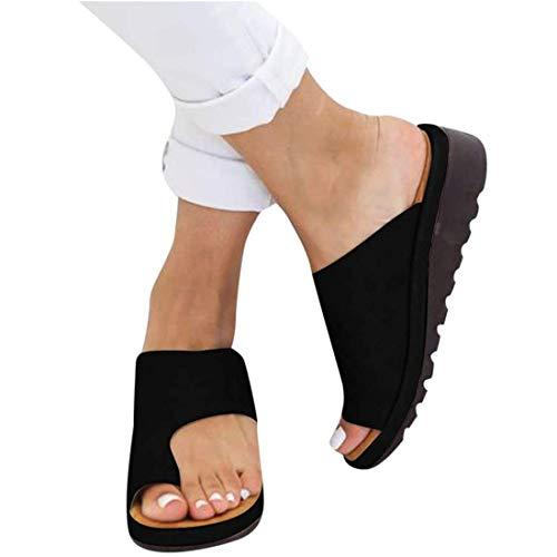 SOFIALXC Sandalen Vrouwen PU Lederen Schoenen Comfy Platform Platte Zool Dames Casual Zachte Grote Teen Voetcorrectie Sandaal Orthopedische Bunion Corrector Sandalen