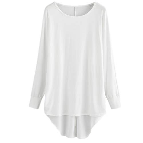 YWLINK Mode Damen Elegant Vokuhila Lange ÄRmel T Shirt Freizeit Lose Klassisch Einfarbig O Kragen Langer Pullover Bluse Jeden Tag Urlaub Kleidung(XL,Weiß)