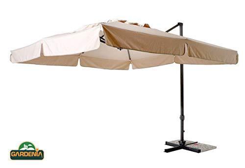 HENGMEI Ombrellone da Giardino Parasole /Ø 350cm Alluminio Poliestere Parasole con Base a Croce Protezione UV Impermeabile Beige