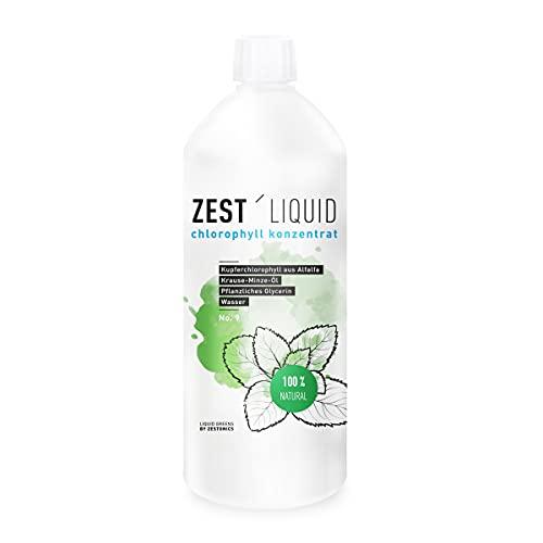 1 Liter Liquid Chlorophyll aus Alfalfa mit Minzgeschmack ohne Konservierungsstoffe - Rohkostqualität - hochdosierter Monatsvorrat - Basisch - Flüssiges Chlorophyll - Konzentrat - Preis/Leistung: Spitze - ZEST\'LIQUID - Made in Germany