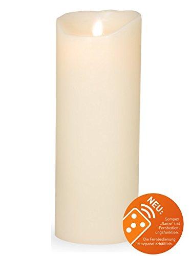 sompex Flame Echtwachs LED Kerze, fernbedienbar, Elfenbein - in verschiedenen Größen, Höhe:23 cm