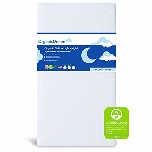 Organic Dream Crib and Toddler Mattress - Organic Cotton Lightweight - 100% Breathable & Hypoallergenic - Baby + Toddler Bed