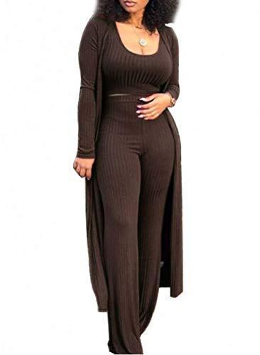 FOBEXISS Conjunto de 3 piezas de gasa de manga larga para mujer de manga larga y pantalones cortos de cintura alta