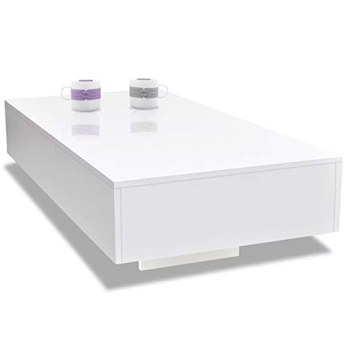 Tidyard Tavolino da caffè Salotto Rettangolare Moderno in Truciolato Bianco Lucido,Tavolino da Salotto Moderno,Tavolino per Divano Moderno,Tavolino Basso,Tavolino Rettangoalre