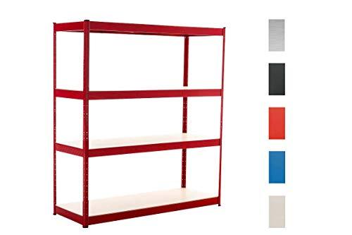 CLP Lagerregal 160x60x180 cm verzinkt I Tragkraft 350 kg pro Boden I Weitspannregal mit 4 Böden I Schwerlastregal Rot