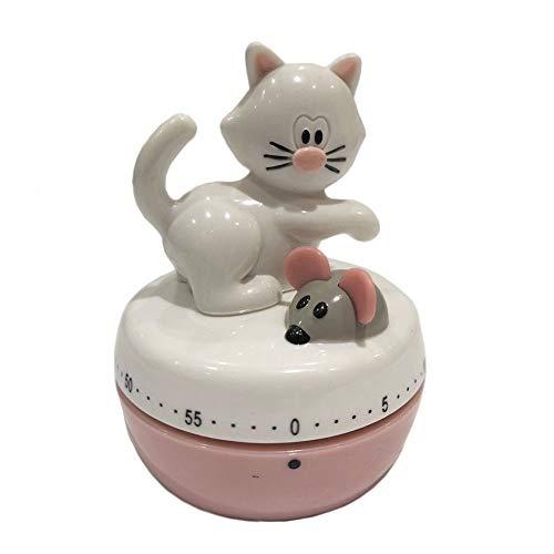 kitchenfun Eieruhr Kurzzeitwecker Küchentimer Küchenwecker, mechanisch, Katze mit Maus, 60 Minuten, Kunststoff, ca. 6 x 7.5 cm, weiß rosa
