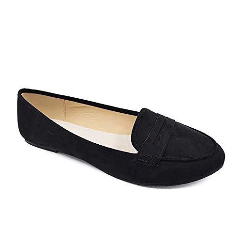 Greatonu - Mocasines planos para mujer con puntera puntiaguda, cómodos, informales, para el colegio, color Negro, talla 38 EU