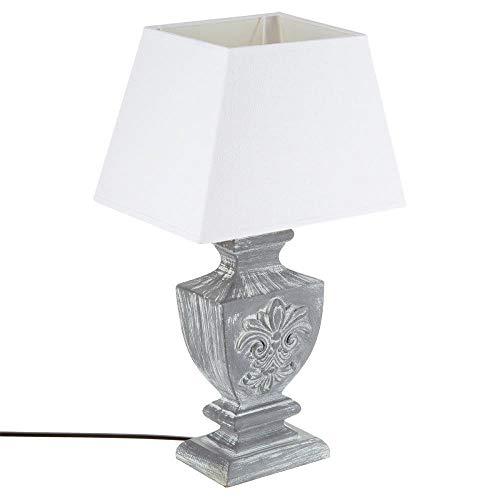 Große Tischlampe - antiker Charme - Farbe GRAU patiniert