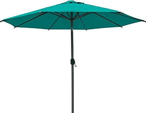 SORARA Parasol Jardin | Vert | Ø 300 cm / 3m | Rond Palermo | Commande à Manivelle (Pied excl.)