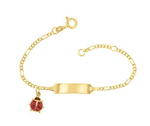JC Trauringe 585 Gold Baby ID-Armband Kinder Goldarmband 14 cm mit Marienkäfer Anhänger rot I Figaro Armband mit Gravur Taufarmband Gold Namensarmband I Kinderschmuck made in Germany I 5.5305224