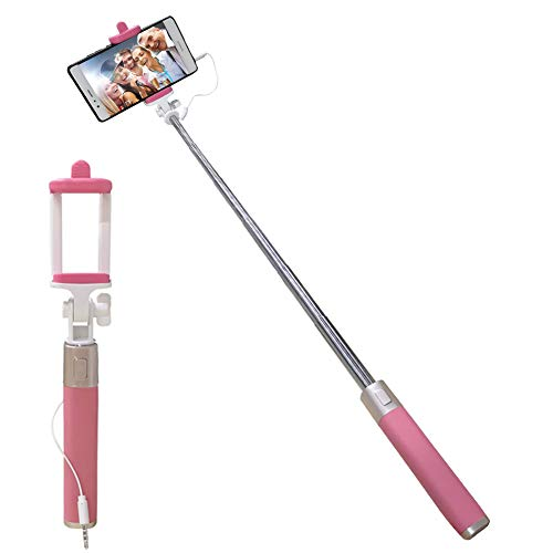 Universal Wired Selfie Stick for iPhone Samsung Galaxy Huawei LG Xiaomi Redmi OnePlus ZTE Motorola, Aeeque Silicone Handle Mini Selfie Stick with Button [NOT Bluetooth Control], Pink