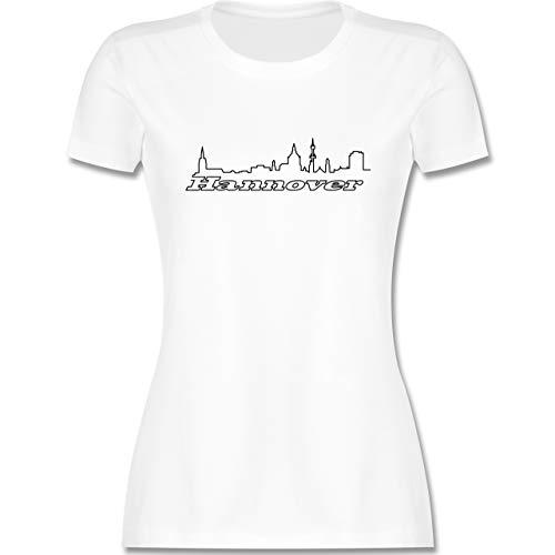 Skyline - Hannover Skyline - XL - Weiß - Shirt Skyline Hannover - L191 - Tailliertes Tshirt für Damen und Frauen T-Shirt