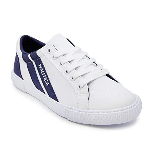 Nautica Women Sustainable Shoe Lace-Up Sneaker Eco Friendly-Aurelia-White Navy-6.5