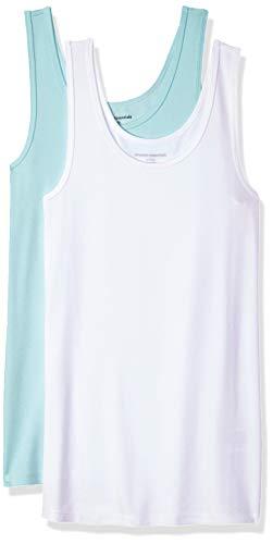 Amazon Essentials Women's 2-Pack Slim-Fit Tank, Aqua/White, Large