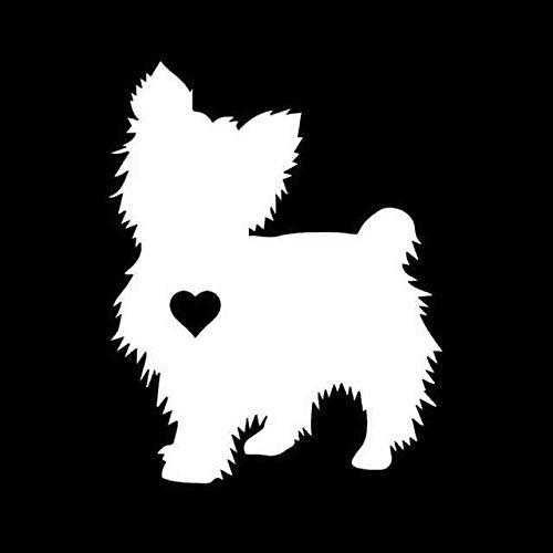 BJDKF 15 cm x 11,9 cm Yorkshire Terrier hart silhouet autosticker auto muren Windows sticker hond decoratie Wit
