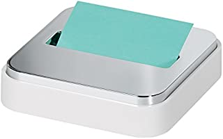 Post-it Dispenser Sticky Dispenser, 3x3 in, White & Silver, Easy One Handed Dispensing (STL-330-W)