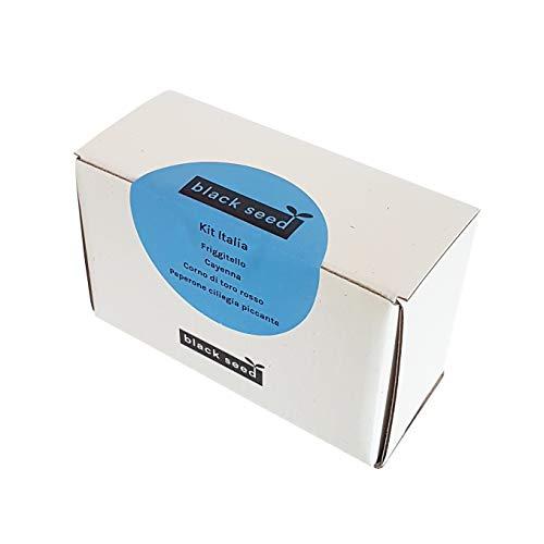BLACK SEED - KIT ITALIA - kit de graines - kit de démarrage - variété friggitello, cayenne, corne de taureau rouge/jaune, poivre cerise épicé