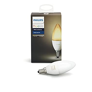 Philips Hue White Ambiance E12 Decorative Candle 40W Equivalent Dimmable LED Smart Bulb (Compatible with Amazon Alexa Apple HomeKit and Google Assistant)