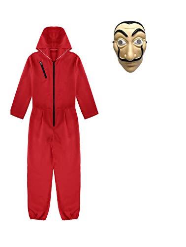 Yigoo Haus des Geldes Kostüm Overall mit Dali Maske Cosplay für Herren, Damen Erwachsene - Fasching, Karneval, Halloween Rot M