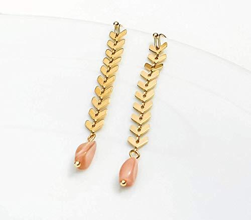 Lange Zweig Ohrhänger mit Perle - Geometrisch - leichte Ohrringe - Goldfarben - Statement - Opulent - Ohrhänger - Braut - Wasserfall Ohrhänger - Blätter - Rosa - Beach - Perlen