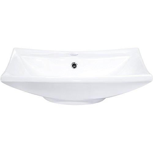 TecTake 800444 Lavabo à poser en céramique vasque rectangulaire salle de bain d'Angle - diverses modèles (Type 1 Lavabo en céramique | no. 402374)