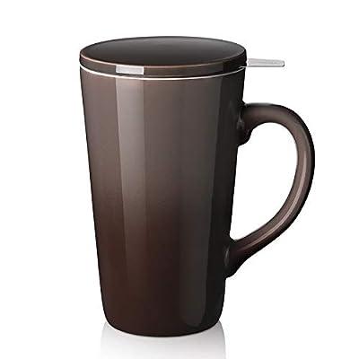 DOWAN Tea Cups with Infuser and Lid, 17 Ounces Large Tea infuser Mug, Tea Strainer Cup with Tea Bag Holder for Loose Tea, Ceramic Tea Steeping Mug, Brown Color Changing