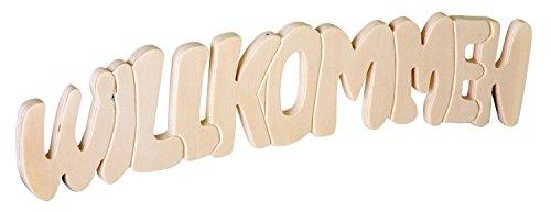 """Holz-Schriftzug\""""Willkommen\"""", zwei Aufhängeösen, Breite ca. 30,5 cm"""