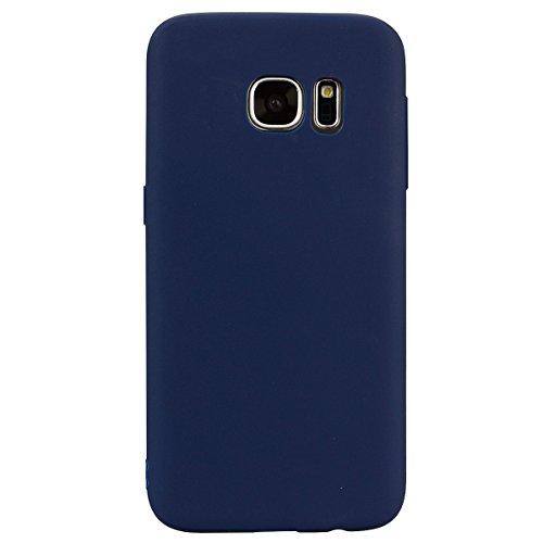 cuzz Custodia Samsung Galaxy S7 Edge+{Film di Vetro temperato}Silicone TPU Cover Morbida Protettiva Custodia Ultra Sottile Leggero Cover-Blu Scuro