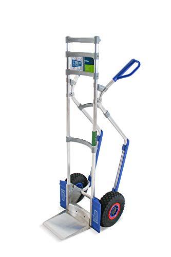 Vollmontierte EXPRESSO Alu Profi- Sackkarre für Getränkekisten - & fässer / 200kg - 250kg / Luftreifen mit Stollenprofil für schlammige Böden/Schaufel L 24,5 x B 22 cm / AE201122