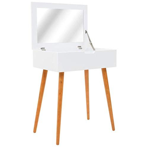 QWSX Simple design Modern Makeup Dressing Table with Mirror Mdf for The Bedroom Makeup Table White Desk of Girl Furniture Pine Wood simple design (Color : White and brown)
