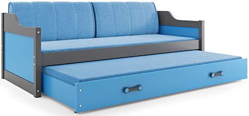 Interbeds Funktionsbett Schubladenbett David 200x90cm Farbe: grau mit Lattenroste, Matratzen und Kissen (Grau + blau)