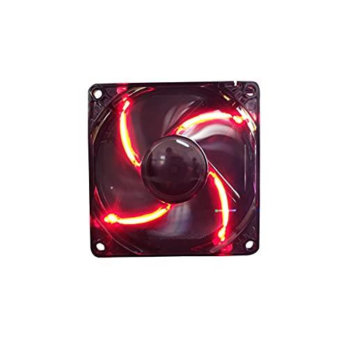 Ventilador de refrigeración para PC de 80 mm silencioso ventilador LED para carcasa de PC y CPU Cooler Anillo LED CaseRadiador Ventilador (Color: Rojo)