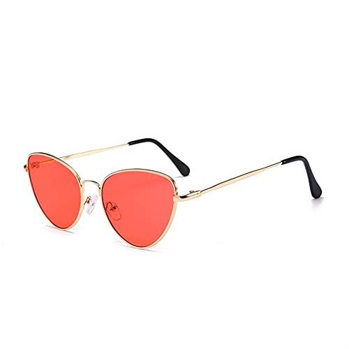 FDDFG Gafas de Sol Ojo de Gato Señoras Retro Red Black Gafas de Sol Blackout Blackout Anti-Reflective Sunglasses (Lenses Color : Gold Red, Size : 14x5x4cm)
