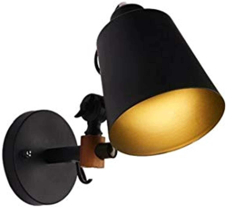 Wandleuchte Nordische Klotzwandlampe Amerikanisches Schmiedeeisen-Massivholz Moderne Minimalistische Kunstnachttischlampe Hlzerne Innenbalkonganglichter