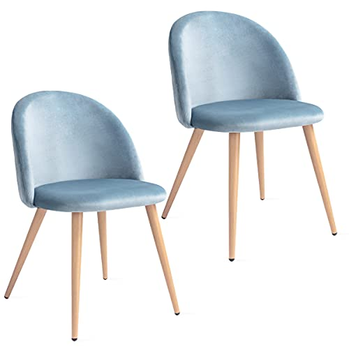 Mc Haus SOFI - Pack 2 Sillas Comedor Tapizadas de terciopleo Azul perla, Silla Nórdica Salón Dormitorio con Respaldo y Asiento Acolchados 49x46x77cm