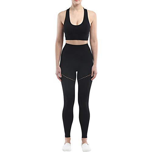 Ropa De Deporte para Mujer Conjunto Yoga Traje Sin Fisuras Trajes De Yoga Entrenamiento Establece Sujetador De Los Deportes De Talle Alto Legginngs Pantalones Crop Top Negro L 2 Piezas