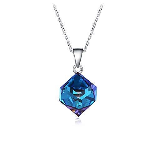 wanhaishop Joyas/Collares Azul Colgante de Cristal Delicado Gargantilla Collares Temperamento Elegante for los Regalos de Plata de Las Mujeres Mujeres presentes de cumpleaños Colgantes de Mujer