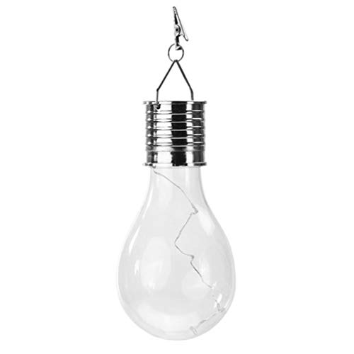 SOLUSTRE LED Solar Bulb Plastic Outdoor Four Color Hanging Bulb Light Waterproof Globe Lamp for Garden Patio Camping Home Bedroom Use(Transparent)