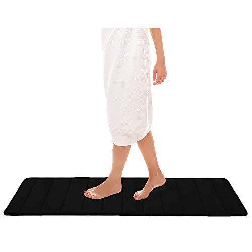 Homaxy Tapis de bain absorbant et antidérapant En mousse à mémoire de forme Lavable, Mousse à mémoire de forme, Noir , 40 x 120 cm