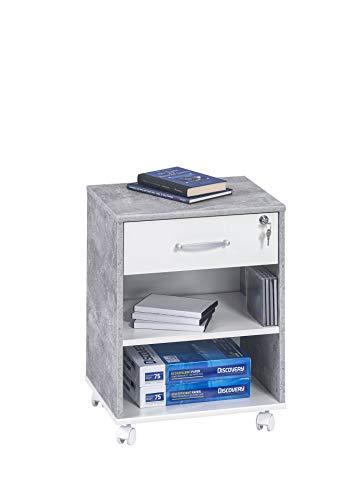 MAJA Möbel Rollcontainer, Holzdekor, Betonoptik - Weiß Uni, 45,60 x 36,00 x 59,10 cm