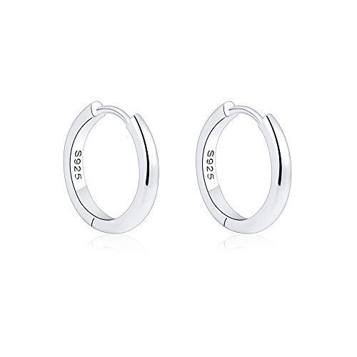 VU100 15mm Creolen für Damen Ohrringe 925 Sterling Silber 14K Weißes Gold Glänzend Creolen Klein Schlafen Kreolen
