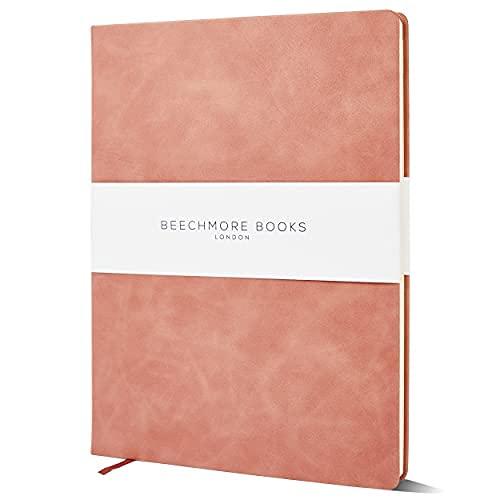 Libros personalizados A4 Beechmore   Texto con estampado en caliente   Cuaderno de tapa dura de piel vegana con personalización   Papel grueso con forro de 120 g/m²   Caja de regalo   Madera rosa