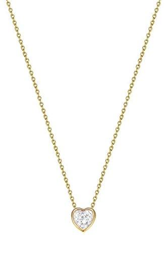 Esprit Essential Damen-Kette mit Anhänger ES-LOVE GOLD teilvergoldet Zirkonia transparent 42 cm - ESNL02764B420