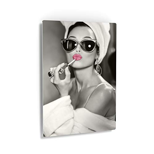 Smile Art Design Audrey Hepburn Wall Art Pink Lips Metal Print Lipstick Makeup Iconic Pop Art Pretty Beauty Black and White Metal Wall Art Home Decor Artwork Gallery Ready to Hang Made in USA - 12x8