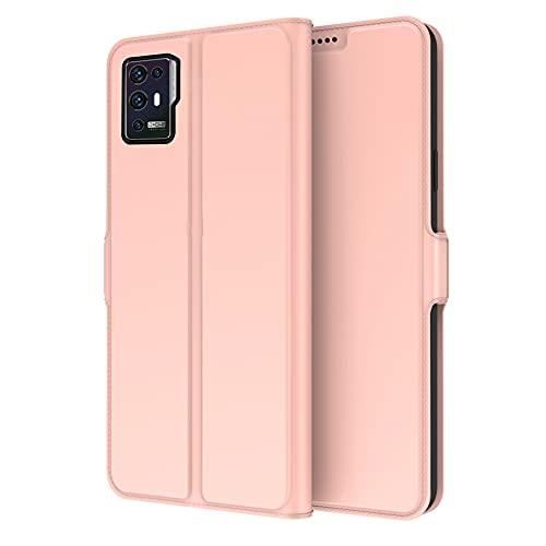 INSOLKIDON Compatible con Funda ZTE Axon 30 Pro Case Teléfono Protector Cáscara Completo Proteccion Billetera Paquete de la Tarjeta Función de Stand Flip Leather Case (Rosa)